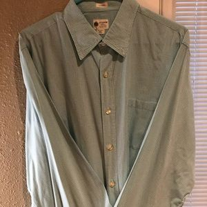 JCrew: teal casual checkered button down, L